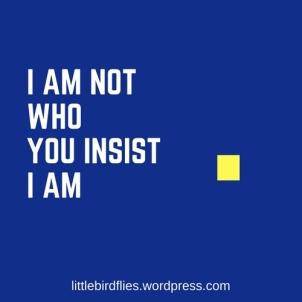 I am not who you insist I am